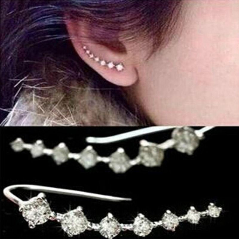 E0409 Fashion Shiny Crystal Stud Earrings Dipper Earrings For Women Girl Statement Ear Jewelry Exquisite Gift Hot Sale Wholesale золотые серьги по уху