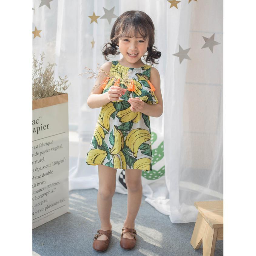 Hot Toddler Kids Baby Girls Banana bojt hercegnő ruha Sundress - Gyermekruházat - Fénykép 4