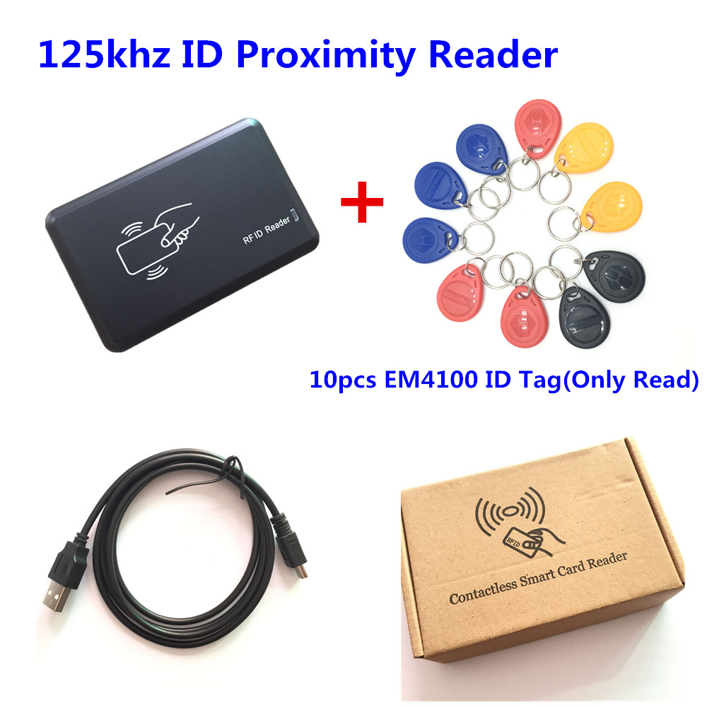 125KHZ RFID Proximity Smart Reader + 10 PCS EM4100 ID Promixity RFID Key Tags Fobs Chains For Access Control wholesale output usb 125khz em4100 rfid proximity reader 10 key tags