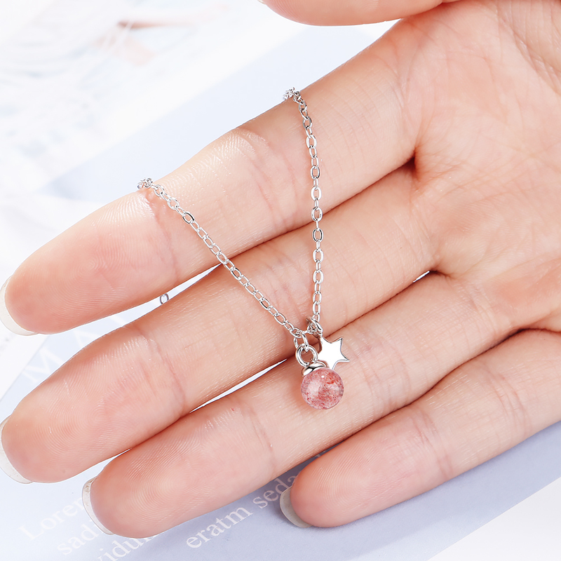 Charm Lady Silver 925 Sterling Jewelry Bracelets For Women Jewelry Fashion Crystal Pink Ball Star Bracelet Girls Accessories Hot in Charm Bracelets from Jewelry Accessories