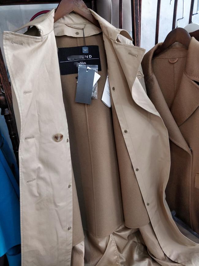 De Tranchée Breasted Laine Automne Britannique Hiver 2019 Femelle Kaki Femmes Haute Survêtement Coton Qualité Manteau Nouveau Double Doublure OBEY6qxBw