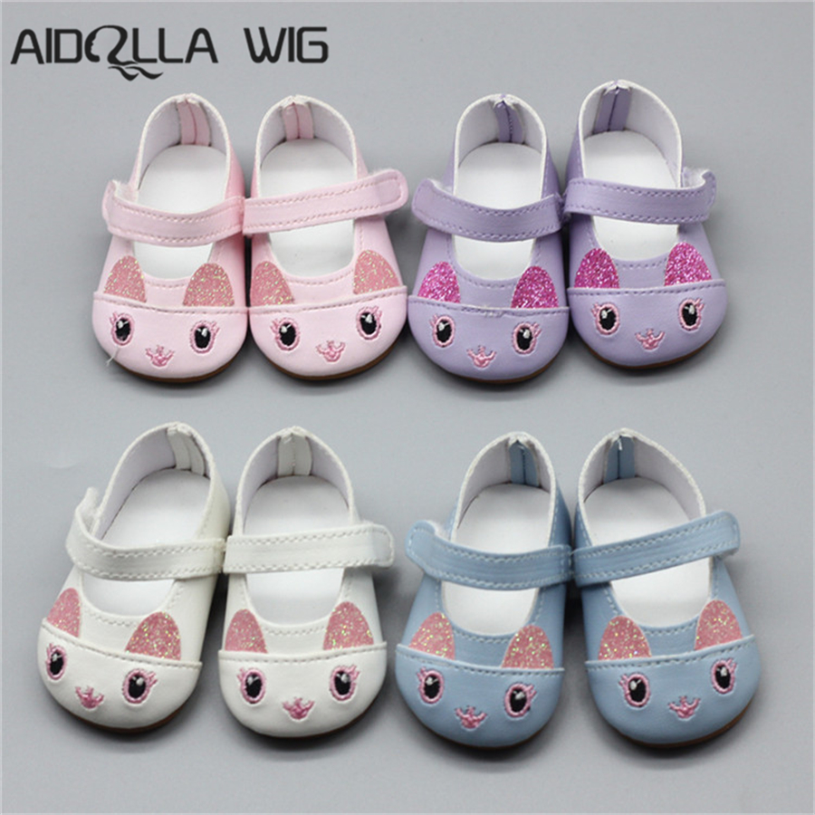 0b7952dcc293 4 colors 1 Pair 7cm Doll Cute Cat Shoes Fits 18 inch Doll 43CM Baby Born  Dolls Shoes for American Doll Accessories