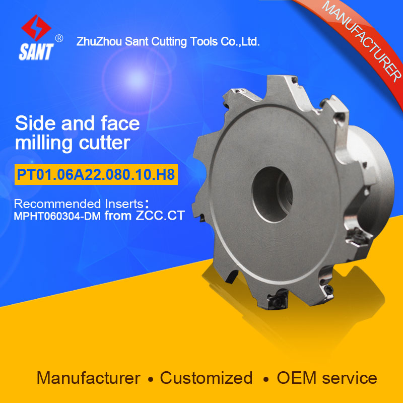 Side and face milling cutter Indexable milling cutter insert MPHT060304-DM disc PT01.12W32.040.02.H18/SMP03-080X8-A22-MP06-10