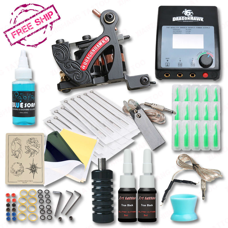 Newest Technique Lining Machine Tattoo Kit Professional Tattoo Set Grips Needles Tips Supplies professional 1 bottle tattoo ink for lining and shading newest tribal liner shader pigment black newest 249ml drop shipping