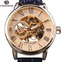 Forsining Roman Retro Series 3D Logo Designer Men Mechanical Watches Top Brand Luxury Skeleton Male Golden