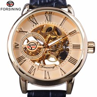 Forsining Roman Retro Series 3D Logo Designer Men Mechanical Watches Top Brand Luxury Skeleton Male Golden