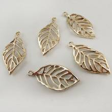 30PCS Rose Golden Tone Alloy Beauty Feather Pendant Jewelry Charm Hot Sale 37587(China)