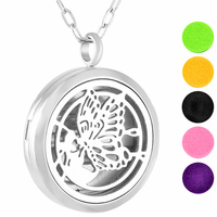 IJP0144 Diffuser Butterfly Necklace Aromatherapy Gift Set - 316L Surgical Grade Stainless Steel Hypo-Allergenic Locket Pendant