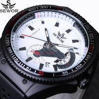 Dos homens Marca de Moda de luxo Relógios Mecânicos Automáticos Data sports Watch Militar Pulseira de Borracha Piloto Aviador Relógio de Pulso Novo