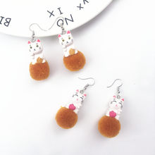 New Design Harajuku Lovely Cat Resin Drop Earrings Lucky Cat Handmade Hairball Earrings for Women Winter Sweet Fashion Jewelry(China)