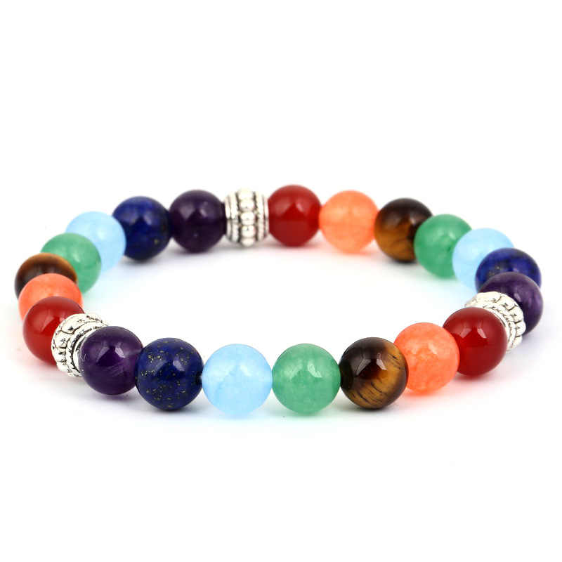 Seven chakra bracelet yoga bracelet 8mm natural stone red  energy bracelet