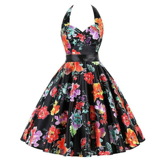 be2715fab89dd 2017 Audrey Hepburn Style Floral Printed Summer Retro Dress for Women Robe  Vintage Dresses 50s 60s Rockabilly Dress-in Dresses from Women's Clothing &  ...