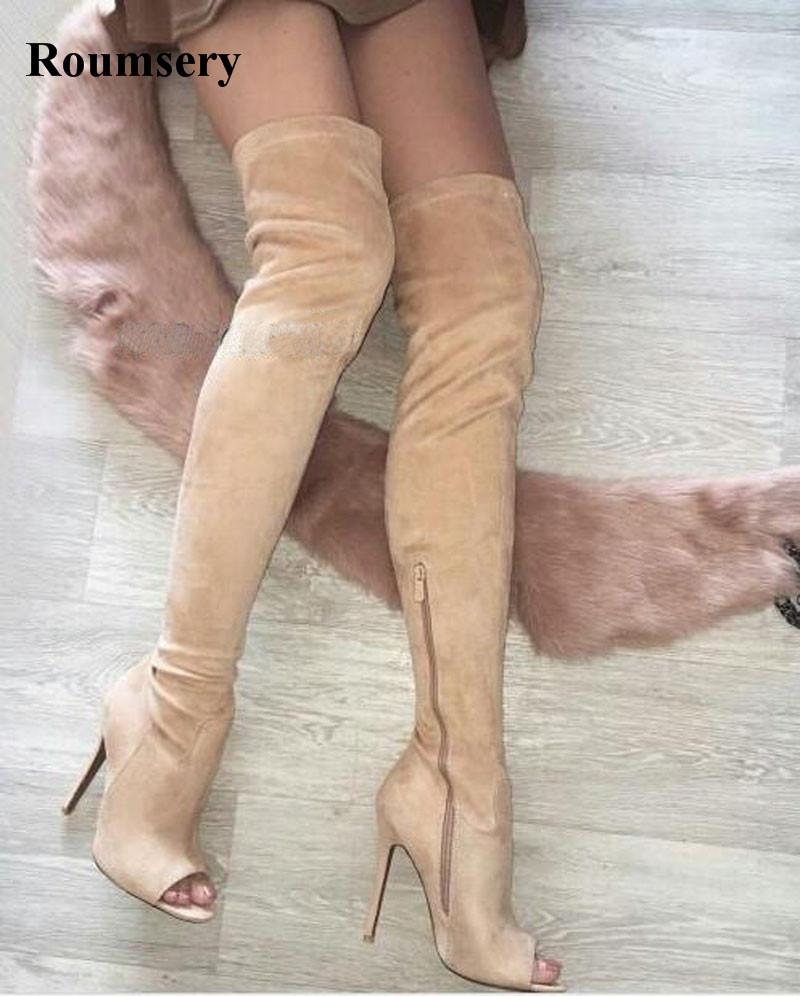New Fashion Women Open Toe Suede Leather Over Knee Gladiator Boots Thin Heel Long High Heel Boots Slim Boots Dress Shoes