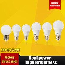 СВЕТОДИОДНЫЕ Лампы E27 светодиодные лампы B22 110 В 220 В Лампа Смарт IC реальная Власть 3 Вт 5 Вт 7 Вт 9 Вт 12 Вт 15 Вт Высокая Яркость Лампада ПРИВЕЛО Bombillas