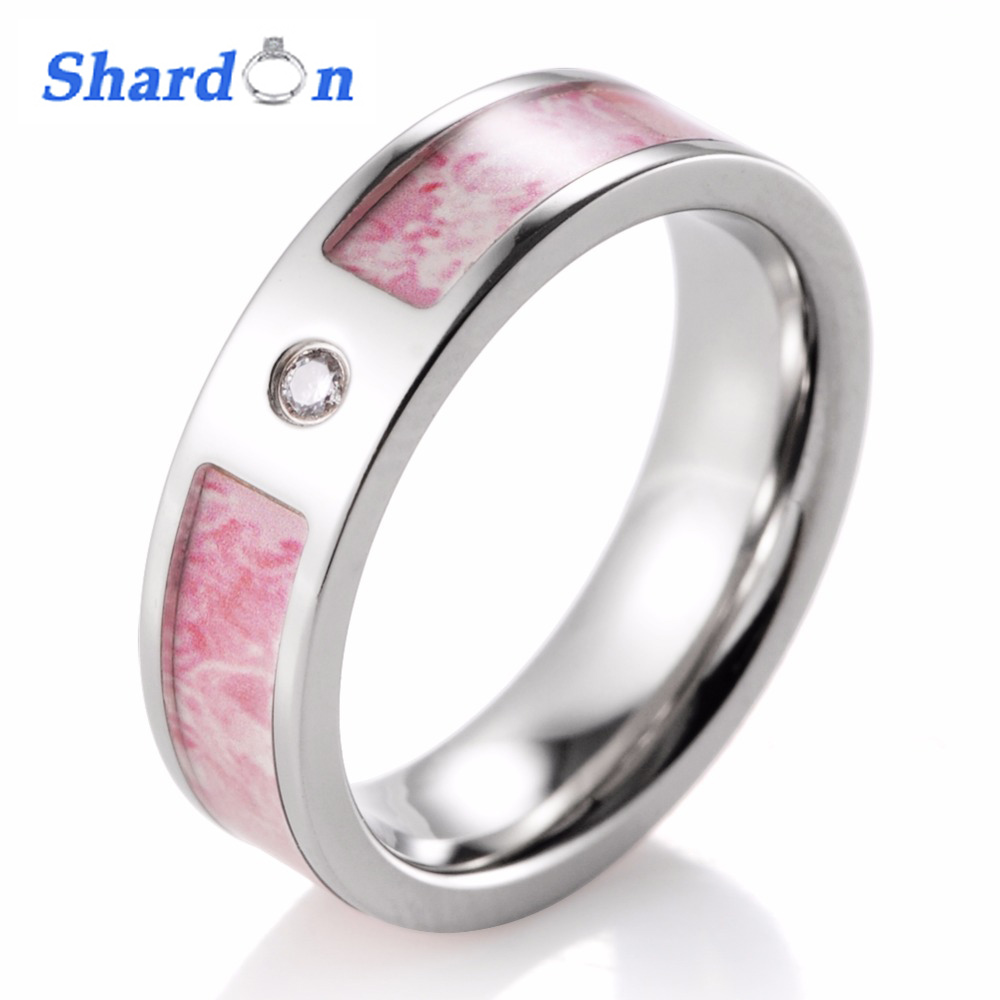 pink camo wedding rings shardon women pink camo wedding ring titanium cz 6572