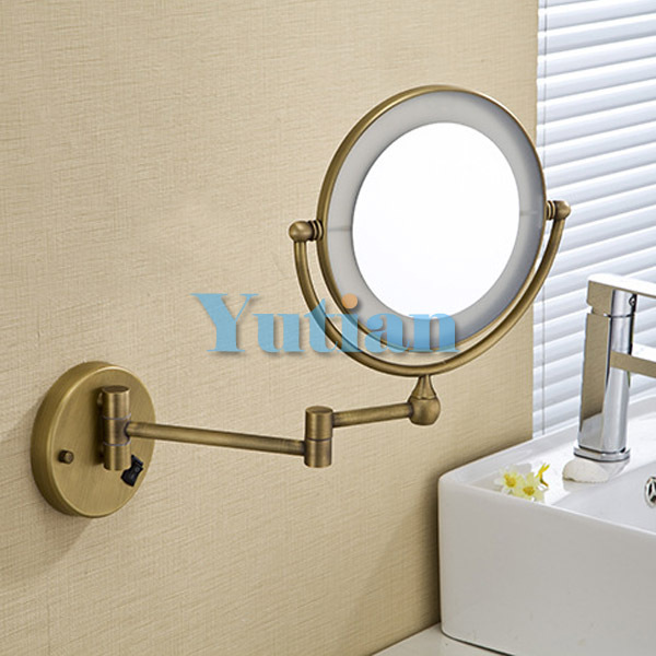 Antique Brass LED Light Makeup Mirrors 8 Round Dual Sides 3X 1X Bathroom Cosmetic Mirror Wall Mount Magnifying In Bath From Home