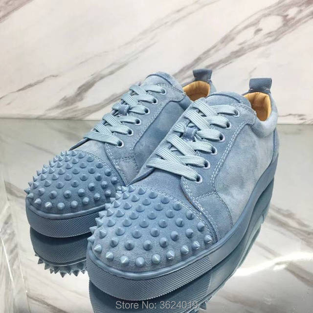 f49492a1ff1f Low Cut cl andgz Blue water Lace up Rivets Shoes Fashion Party Red bottom  For Man Sneakers Leather Loafers 2018 Footwear Spring