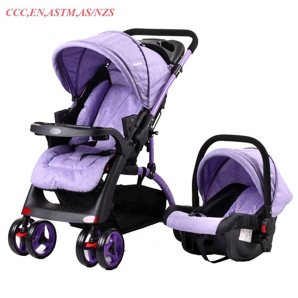 Несколько Детские Коляски 2 в 1 с автокресло четыре колеса коляски Bi directional Ручка складной коляски с новорожденных корзина