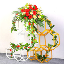 4PCS Floor Vases Flowers Vase Column Stand Metal Pillar Road Lead Wedding Centerpieces Rack Event Party Christmas Decoration