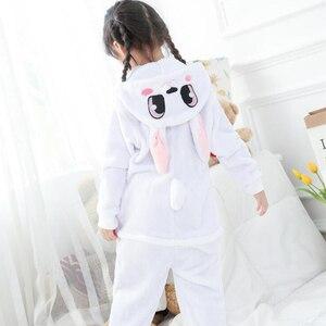Image 3 - Combinaison Cosplay bleu enfant, Costume dhiver, motif lapin, Kigurumi, Anime, vêtements de nuit animaux, pyjamas, pour fille et garçon
