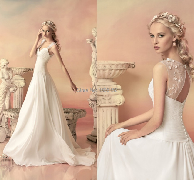 Lovely Designer Wedding Dress Bridal Gowns A Line Open Back Button ...