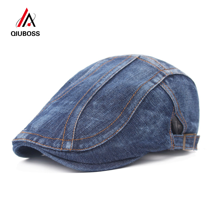 QIUBOSS Unisex Denim Flat Newsboy Driving Hat Cap Outdoor Travel Men Women Simple Berets Adjustable Peaked Cap Ivy Cabbie Caps
