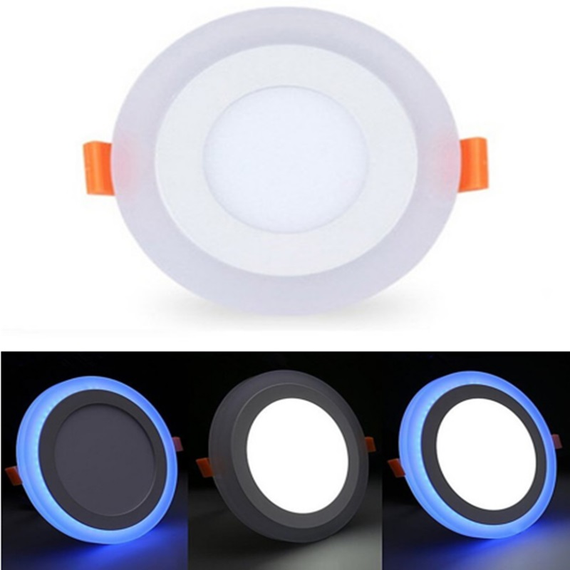 Blue+White Round LED Panel Downlight 6W 9W 16W 24W Double LED Panel Lights AC85-265V Recessed Ceiling Panel Lamps CE ROHS