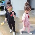 M & F Bebê Menina Conjuntos de Roupas de Impressão de Moda Primavera Roupas Casuais de Algodão Do Bebê 2 Pcs Ternos das Crianças Coreano versão Das Meninas Sets