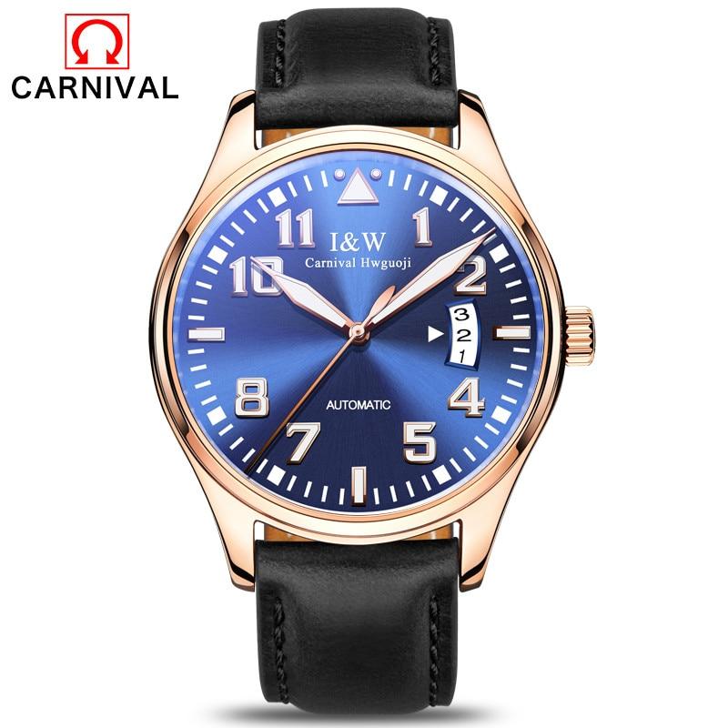 Carnaval Relógio Piloto Dos Homens Top Marca de Luxo Automático Relógios Mecânicos À Prova D' Água Relógio de Pulso Luminoso erkek kol saati 2018