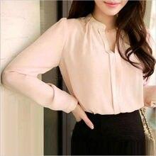 Moda Verão Mulheres Chiffon Camisa Elegante Sexy Com Decote Em V Camisas  Longas Da Luva Das Senhoras Blusa Branca Rosa Feminino . 5780f7b76b838