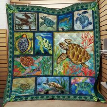 Turtle Print Ocean Quilt Adult Bed Thin Blanket Cotton King Size Outdoor Camping Picnic Soft Superfine Fiber Quilt Wholesale(China)
