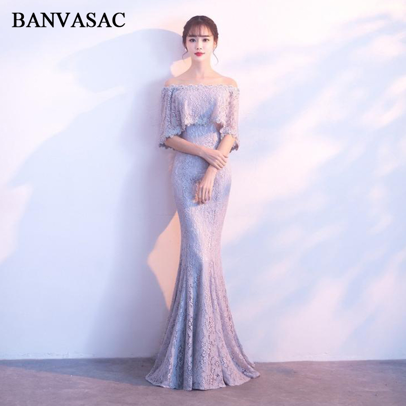BANVASAC 2018 Vintage Boat Neck Lace Embroidery Mermaid Long   Evening     Dresses   Half Sleeve Beading Party Prom Gowns
