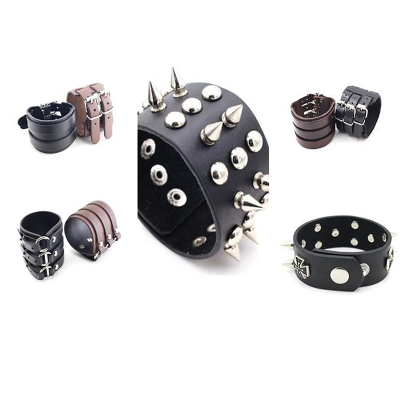 Halloween Cosplay Exaggerated Retro Steampunk Jewelry Leather Bracelet Rivet Cross Hand Strap Men's And Women's Bracelet