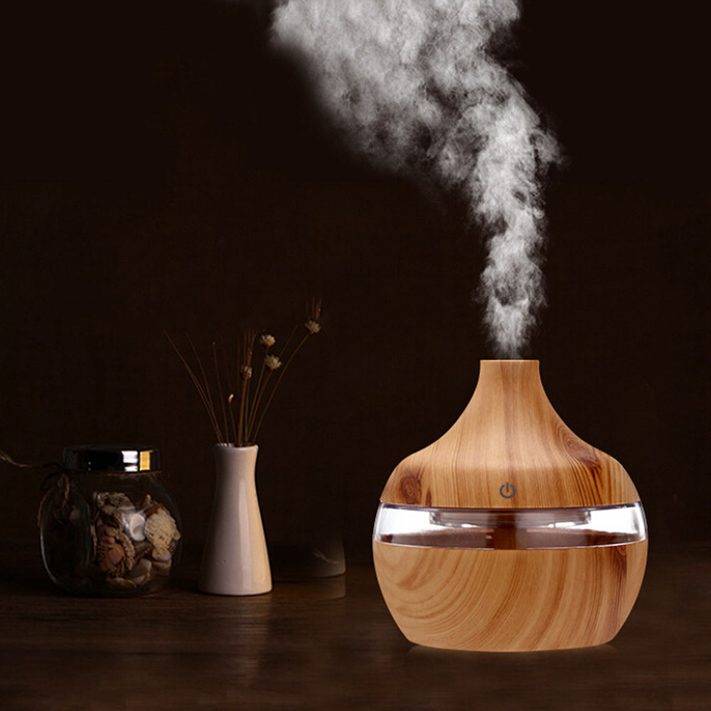 Wood Grain USB Air Freshener 300ml Aroma Humidifier Aromatherapy 7 Color LED Lights Electric Essential Oil Aroma Diffuser gold metal duvar saati