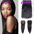 Virgin Malaysian Straight Hair 4 Bundles With 4x4 Lace Closure 100% Human Hair Top Quality BLING Hair Products Natural Color 1B