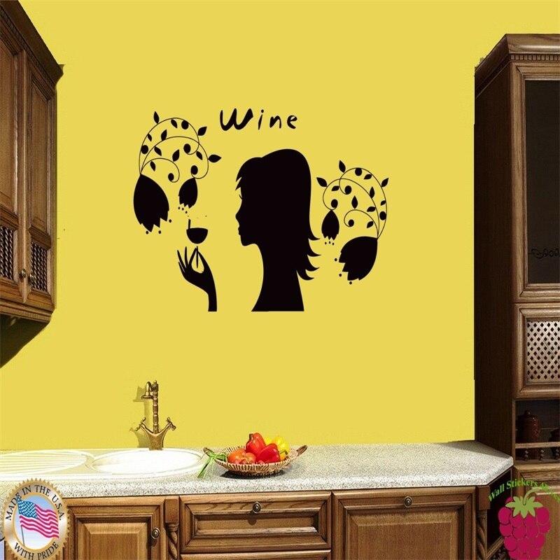 Etiqueta de la pared chica vino uva moderno fresco decoración para ...