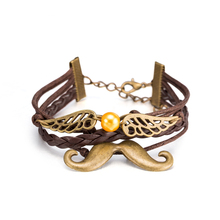 2017 Hot Brown Original Antique Silver Plated Bearded Cuff Bracelet For Unisex Girl Multi Layer Hand Woven Leather Bracelet