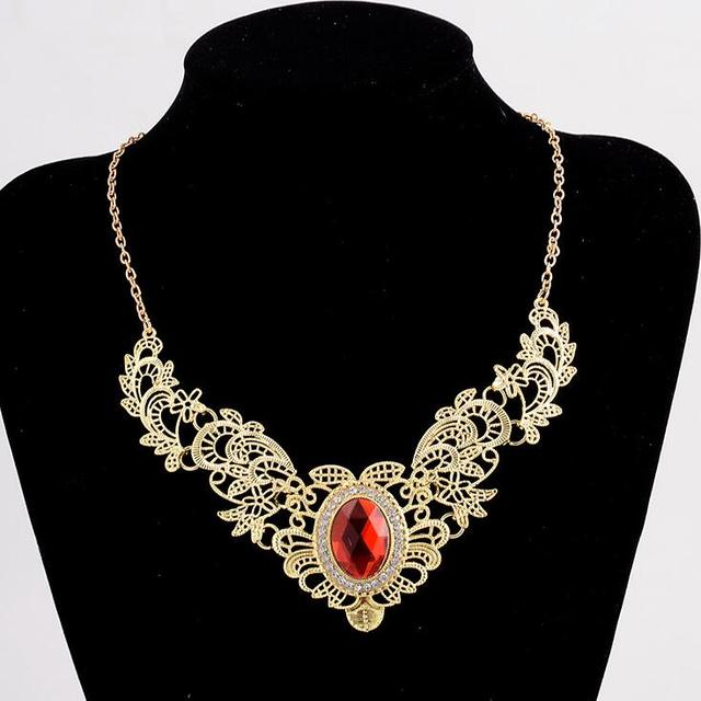 Vintage Chunky Choker Necklace All-match Hollow Flower Chain Party Bid Statement Bronze Collar Women Fashion Retro Jewelry Gift