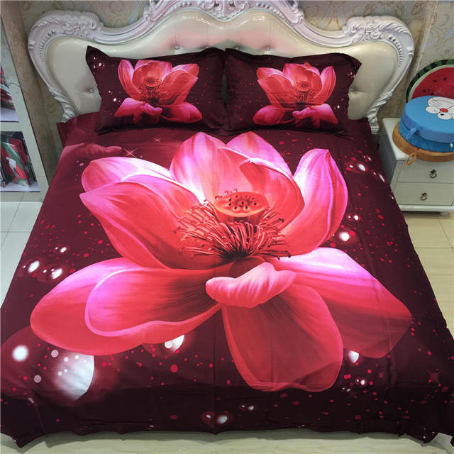 3D Lotus Flowers Printed Bedding Sets Coverlets 100% Cotton Bed Duvet Cover  Adults Bedroom Decor