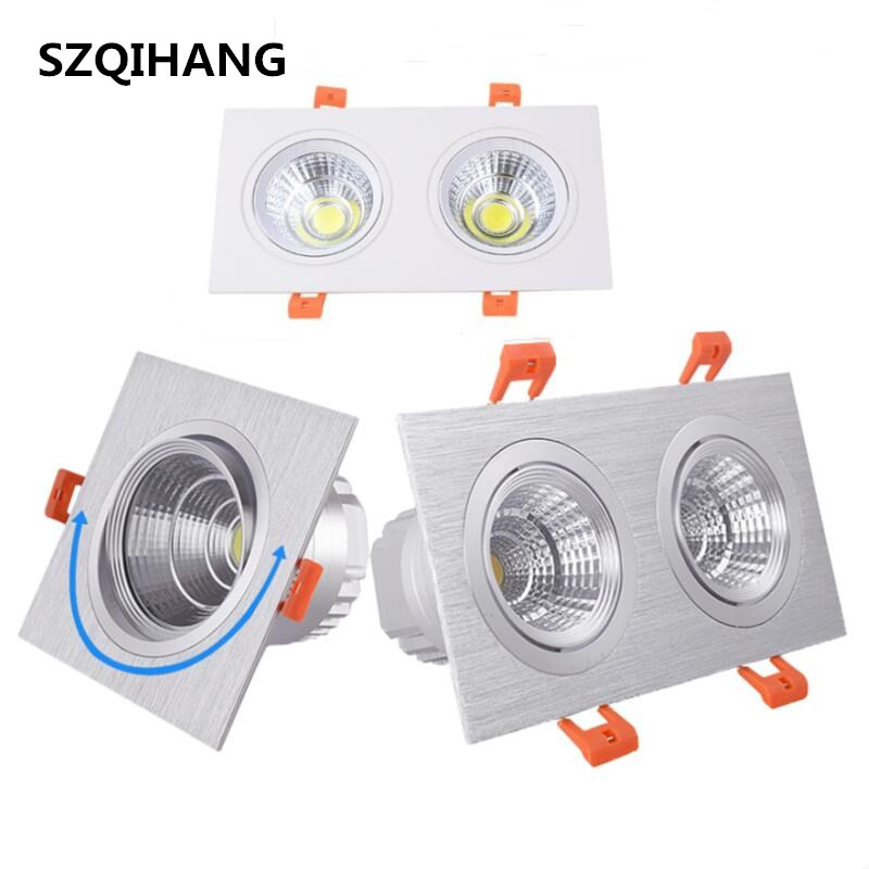 Square Bright Double 2 7W 2 14W Dimmable Square Downlight COB LED Spot light decoration Ceiling Lamp White Black Silver Shell in LED Downlights from Lights Lighting