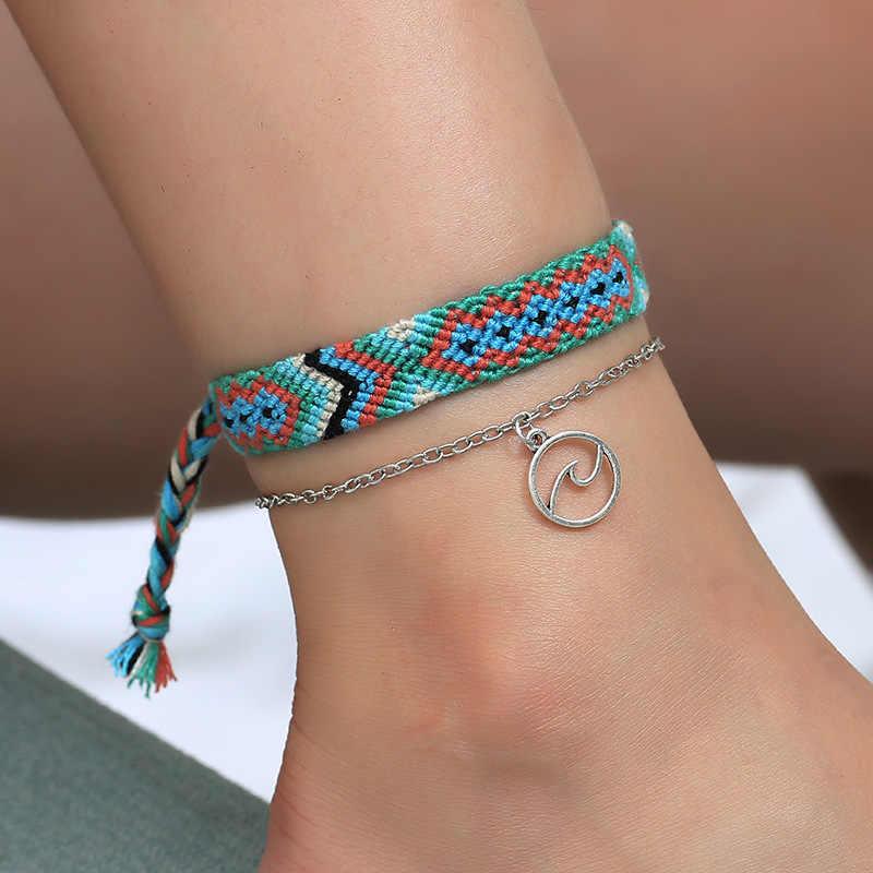 Vintage OM Rune สาน Anklets สำหรับผู้หญิงทำจากผ้าฝ้ายข้อเท้าสร้อยข้อมือชายหาดหญิงเครื่องประดับของขวัญ