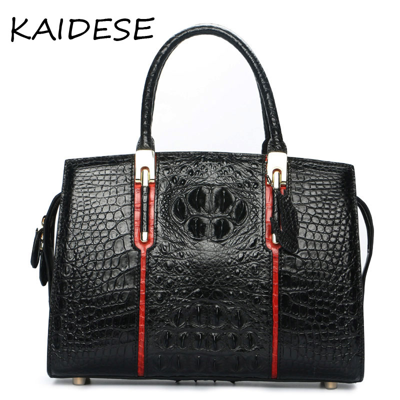 KAIDESE 2017 yoko square leather handbag with 100% hand-made alligator bag, European and American fashion black bulk carrier bag kaidese 100% thai crocodile leather hand work system for 2017 new style real leather alligator bag lady big capacity hand bag