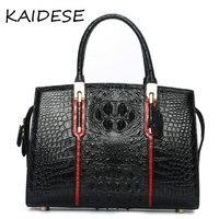 KAIDESE 2017 yoko square leather handbag with 100% hand made alligator bag, European and American fashion black bulk carrier bag