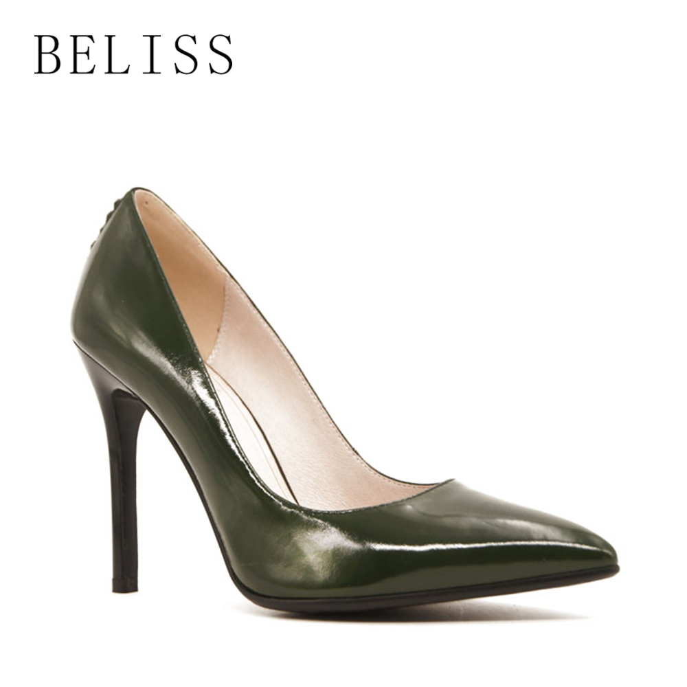 BELISS classic women shoes thin high heels elegant wedding ladies pumps with rhinestones leather pumps woman pointed toe X2