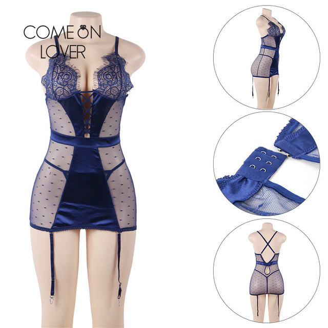Comeonlover Nuisette Sexy Baby doll Lenceria Satin Lace Stitching Sexy Dress Erotic Sexy Dessous Women Sexy Lingerie Hot RI80650 4