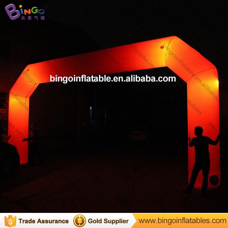 Su misura 8*4 m rosso arco Gonfiabile con illuminazione per il partito-giocattolo