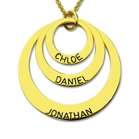 Wholesale Three Disc Necklace Gold Color Handmade Disc Necklace With Kids Name Personalized Jewelry For Moms