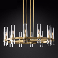 American Loft RH E14 Led Chandelier Gold/Black/Chrome Pendant Chandelier Lighting Foyer Retro Glass Shades Led Lighting