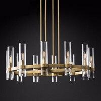 American Loft RH E14 Led Chandelier Gold/Black/Chrome Pendant Chandelier Lighting Foyer Retro Glass Shades Led Lighting