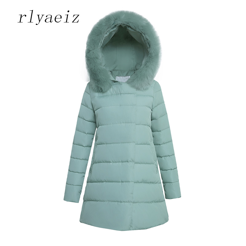 RLYAEIZ 2017 New Winter Jacket Women Middle Long big Fur Collar Hooded Cotton-padded Jackets Woman Slim Warm Parkas Coat Female women winter coat leisure big yards hooded fur collar jacket thick warm cotton parkas new style female students overcoat ok238